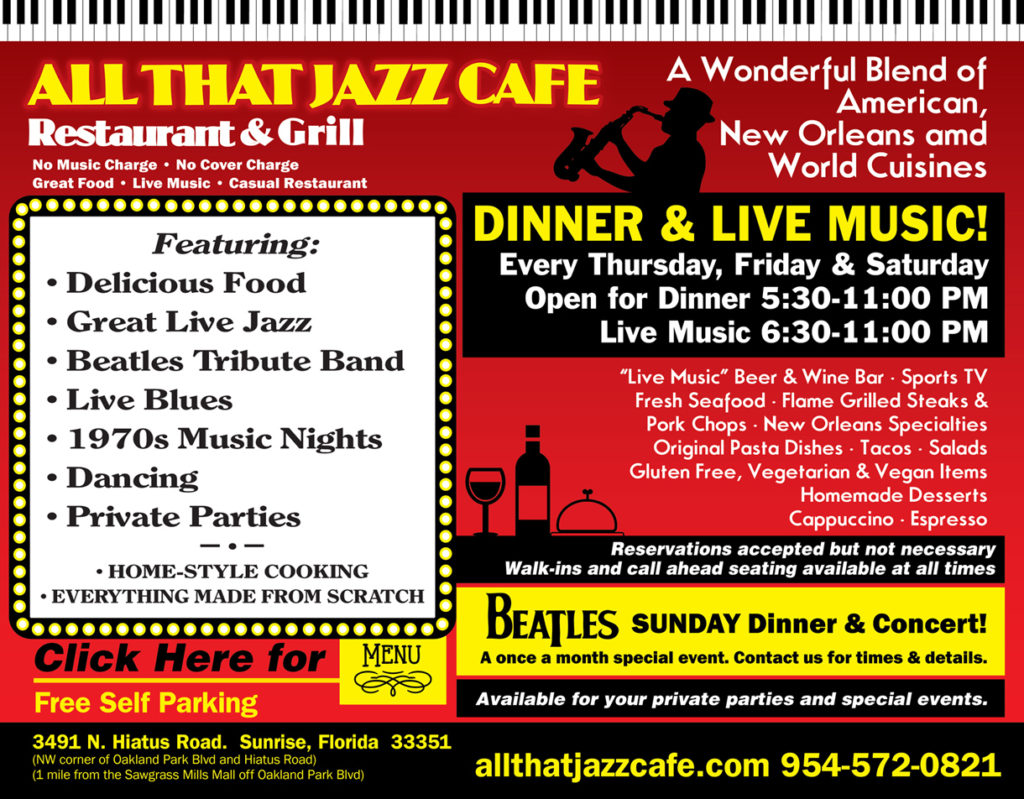 All That Jazz Cafe Flyer - Links in a new window to a PDF of our full menu